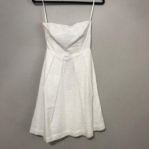 J crew 0 solid white tube top flare dress women sh